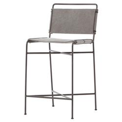 Oxton Industrial Loft Grey Steel Canvas Counter Stool