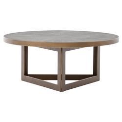 Larana Regency Faux Shagreen Round Brass Round Coffee Table