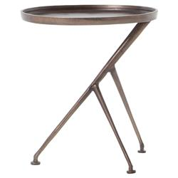 Kath Modern Industrial Rustic Angular Aluminum End Table