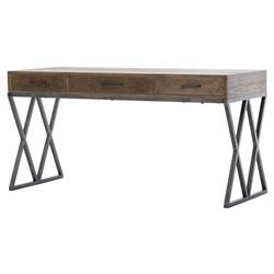 Prentice Rustic Lodge Grey Oak Black Metal Desk