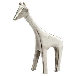Long Neck Giraffe Raw Nickel Sculpture - Small
