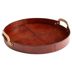 Brennon Rustic Lodge Tanned Leather Brass Tray - 17D