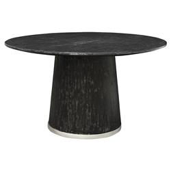 Palecek Conrad Loft Silver Trim Black Round Dining Table