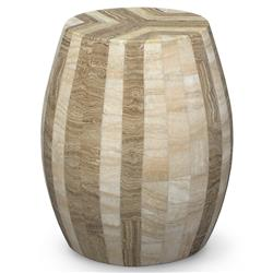 Palecek Dali Stool Bazaar Tan Beige Inlaid Stone Stool End Table