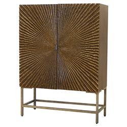 Palecek Luxor Bazaar Antique Pewter Ridged Hardwood Cabinet