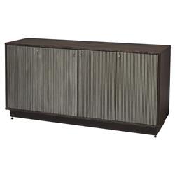 Palecek Maxwell Regency Ridged Metallic Silver Walnut Sideboard