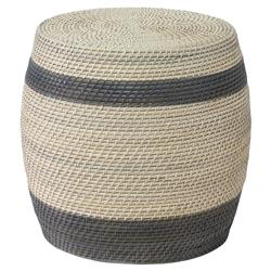 Palecek Reyna Coastal Grey Stripe Cream Rattan Stool Table