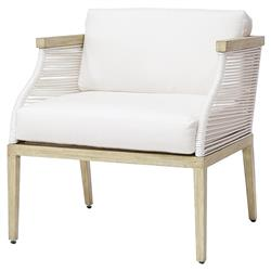 Palecek Sausalito Modern Marine Rope White Outdoor Lounge Chair