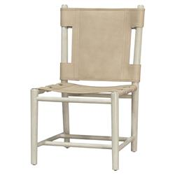 Palecek Whiskey White Wash Cashew Leather Cane Side Chair