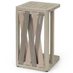 Palecek Boca Coastal Beach Grey Teak Woven Rope Outdoor Side End Table