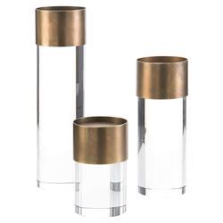John-Richard Modern Crystal Antique Brass Candleholders - Set of 3
