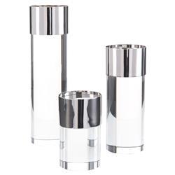 John-Richard Modern Crystal Nickel Plated Candleholders - Set of 3