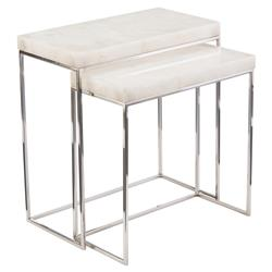 John-Richard Liara Regency Stainless Steel Calcite Nesting Tables - Pair