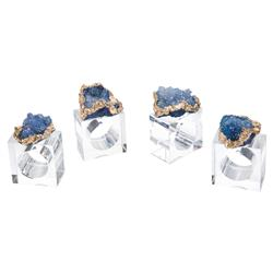 John-Richard Blue Geode Gold Plated Crystal Napkin Rings - Set of 4