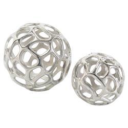 John-Richard Organic Silver Sculptural Orbs - Pair