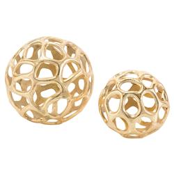 Organic Gold Sculptural Orbs - Pair