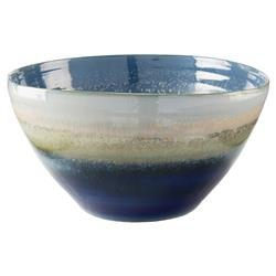 John-Richard Blue Glazed Reactive Ceramic Decorative Bowl