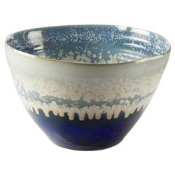 John-Richard Blue Cream Reactive Glaze Deep Ceramic Bowl