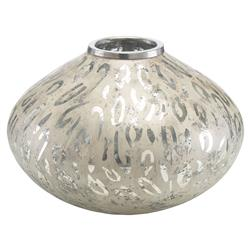 Leopard Bazaar Etched Polished Nickel Vase