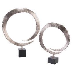John-Richard Razor Edge Circular Flame Silver Sculptures - Pair