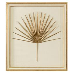 John-Richard Palm Frond Gold Leaf Ivory Shadowbox - I