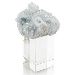 John-Richard Soft Blue Celestite Fragment Crystal Cube Sculpture - S