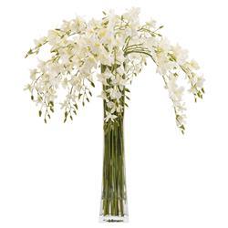 White Dendrobium Orchids Tall Slender Floral Arrangement
