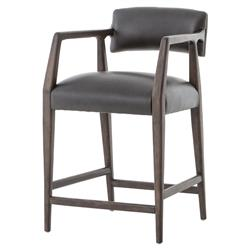 Lolly Mid Century Rustic Black Leather Oak Counter Stool