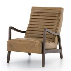 Elkan Mid Century Camel Leather Brown Armchair