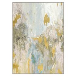 Bailey Grey Pastel Gold Leaf Fragment Giclee Painting - II
