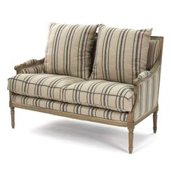 St. Germain French Country Louis XVI Blue Stripe Settee | B007-2 E255-3 Stripe Blue