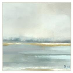 Camila Coastal Blue Grey Mist Abstract Canvas Painting