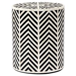 Interlude Kiara Bazaar Bone Inlay Geometric Black End Table