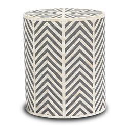 Interlude Kiara Bazaar Bone Inlay Geometric Grey End Table