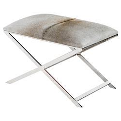Interlude Mirren Modern Soft Grey Hide Polished Steel Stool