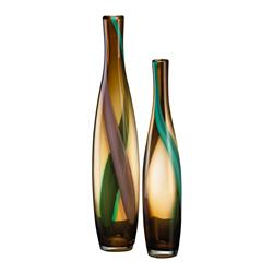 Medium Brown and Green Smoked Vase | CYAN-00915