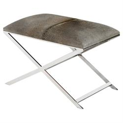 Liev Modern Dark Grey Hide Polished Steel Stool