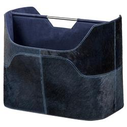 Tibbs Rustic Lodge Denim Blue Hide Magazine Rack