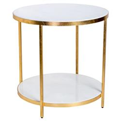 Austie Regency Gold Leaf White Marble End Table