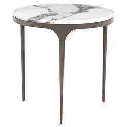 Interlude Camilla Gunmetal White Marble Round End Table