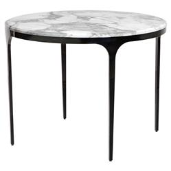 Eda Gunmetal White Marble Round Bistro Table