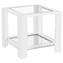 Interlude Surrey Modern Glass Acrylic Block Side Table