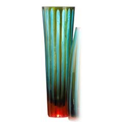 Large Cyan and Orange Striped Vase | CYAN-01128