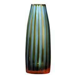 "Cyan Blue and Orange Striped Chiseled Glass Vase - 11""H 