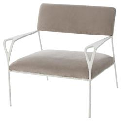 Kelly Hoppen Avalon Modern Soft Grey Textured White Metal Armchair