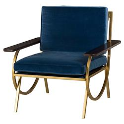 Resource Decor B Mid Century Curved Gold Blue Velvet Armchair