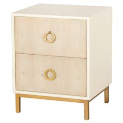 Maison 55 Amanda Regency Ivory Lacquer Tan Shagreen Nightstand - 2 Drawer