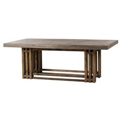 Thomas Bina Conrad Rustic Industrial Pine Cement Dining Table
