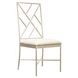 Adrion Silver Leaf Fretwork White Side Chair