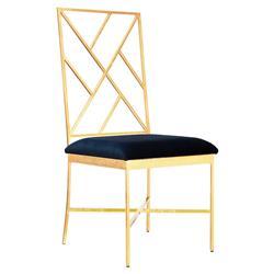 Adrion Gold Leaf Fretwork Navy Velvet Side Chair